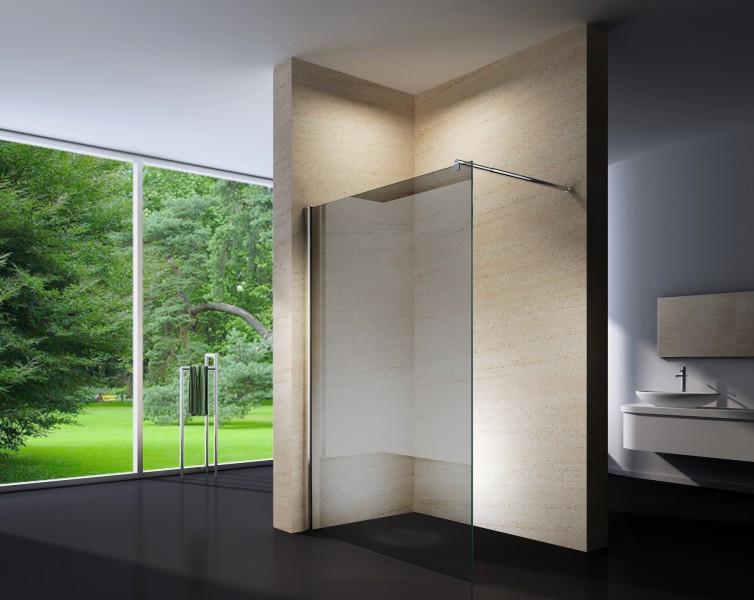 Duschabtrennung Walk-In Nano Echtglas EX101 - graues Glas - Breite wählbar zoom thumbnail 3