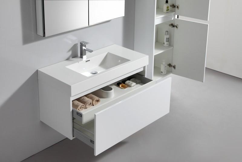 Badmöbel-Set A1000 Basic Weiß inkl. Spiegelschrank