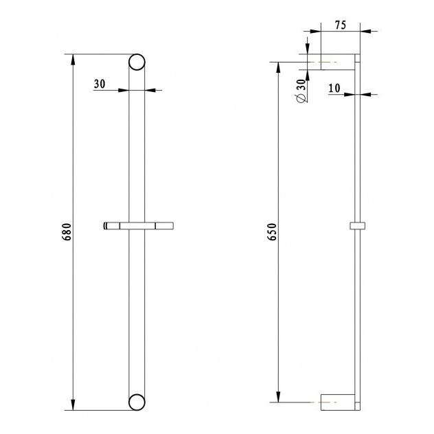 Hochwertige Duschstange DS61 - Duschschlauch / Handbrause / Wandanschlussbogen optional
