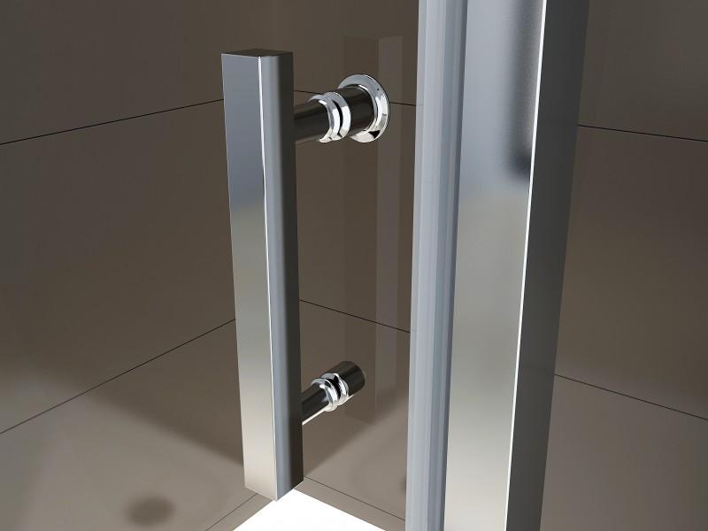 Duschkabine Eckdusche 8 mm NANO Echtglas EX416-1 Milchglas-Streifen - 90 x 90 x 195 cm zoom thumbnail 5