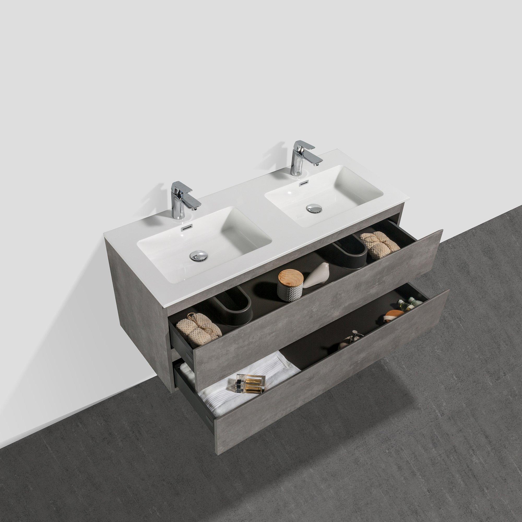 Badmöbel-Set Alice 1200 Beton-Optik - Spiegel und Seitenschränke optional