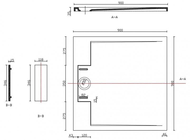 Mineralguss Duschtasse Duschwanne PB3087MG - Grau Matt - 90x90x3,5cm zoom thumbnail 4