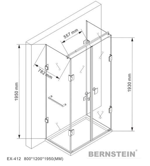 Duschkabine U-Form 8 mm Nano Echtglas EX412 - 120 x 80 x 195 cm - inkl. Duschtasse zoom thumbnail 5