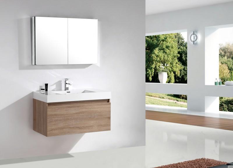 Badmöbel-Set A1000 Basic Eiche geweißt - Spiegel und Seitenschrank wählbar