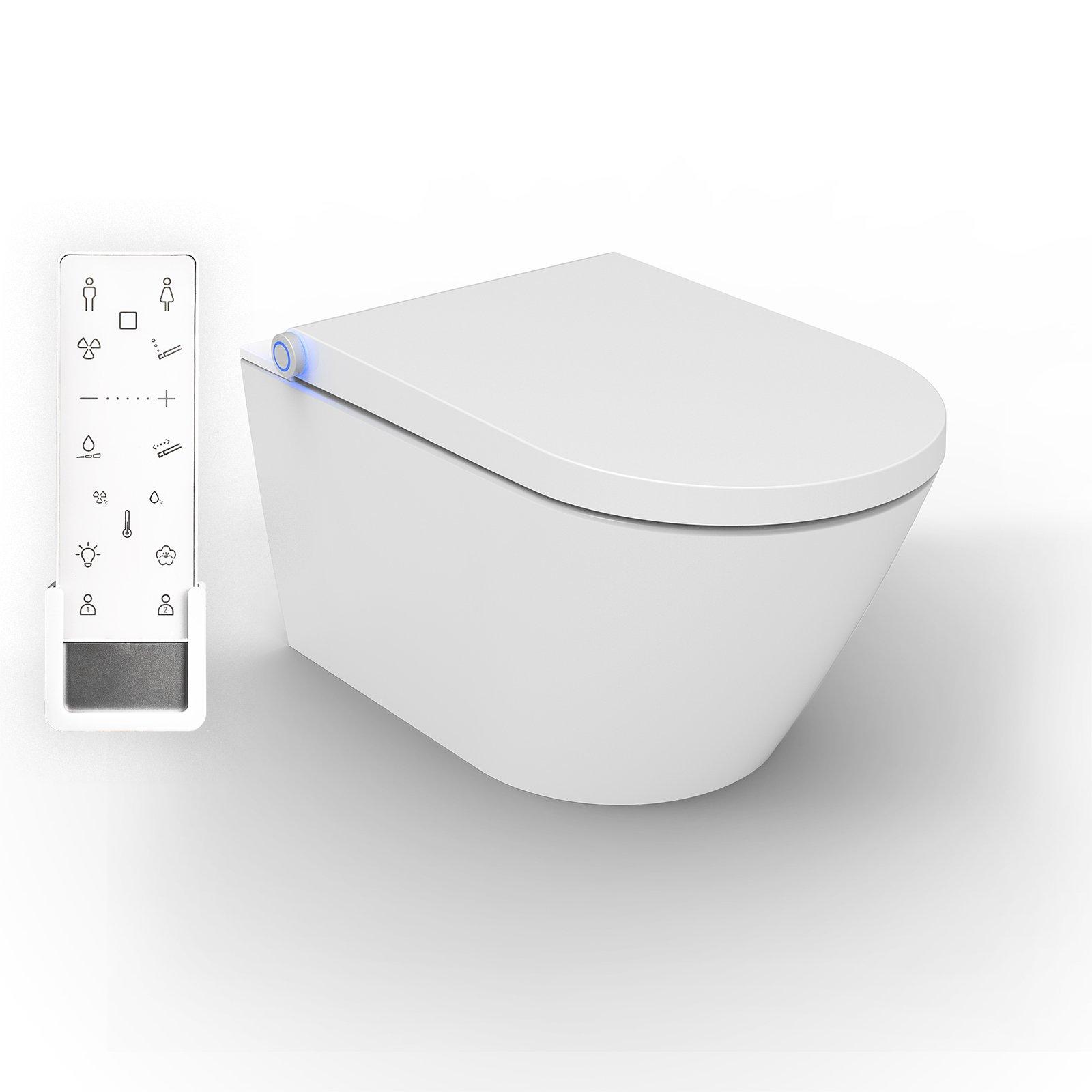 BERNSTEIN DUSCH-WC PRO+ 1102 in Weiß - Spülrandloses Dusch-WC rund - Komplettanlage