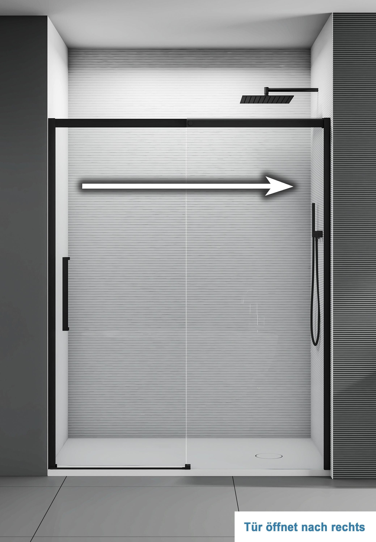 Nischendusche mit Schiebetür Soft-Close DX906 FLEX Schwarz matt - 8 mm Nano Echtglas - Breite wählbar