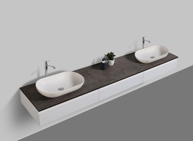 Badmöbel Vision 2250 Weiß matt - Aufsatzwaschbecken optional zoom thumbnail 3