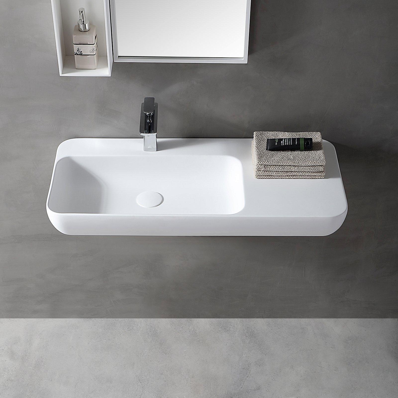 Wandwaschbecken Aufsatzwaschbecken TWG202 aus Mineralguss Solid Stone - Weiß matt - 90x40x12cm zoom thumbnail 3