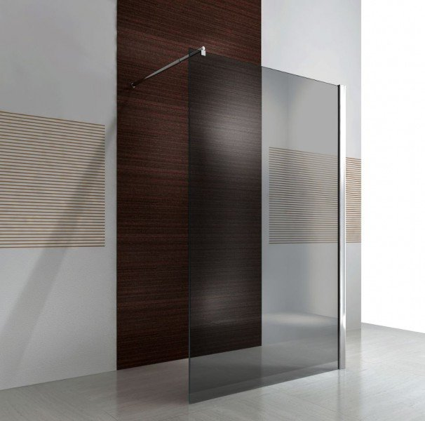 Duschabtrennung Walk-In Nano Echtglas EX101 - graues Glas - Breite wählbar