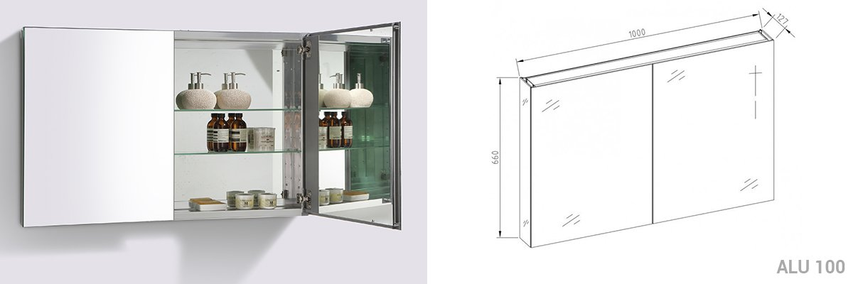 Badmöbel Vision 1000 Weiß matt - Spiegel und Aufsatzwaschbecken optional zoom thumbnail 4