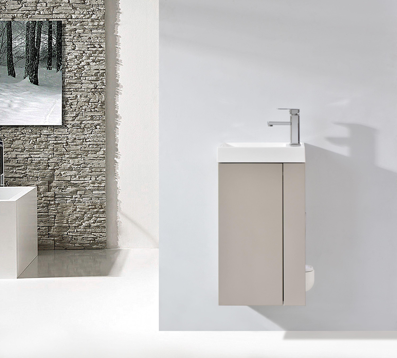Badmöbel-Set Compact 400 für Gäste-WC - Taupe hell matt