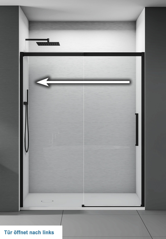 Nischendusche mit Schiebetür Soft-Close DX906 FLEX Schwarz matt - 8 mm Nano Echtglas - Breite wählbar zoom thumbnail 4
