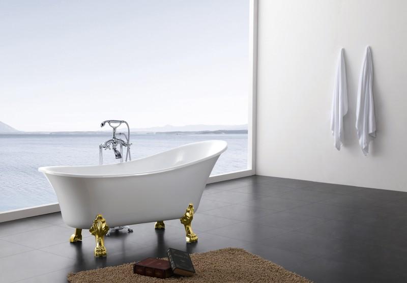 Freistehende Badewanne PARIS Acryl Weiß matt oder glänzend - 176 x 71 cm - Metallfüße & Standarmatur wählbar zoom thumbnail 3