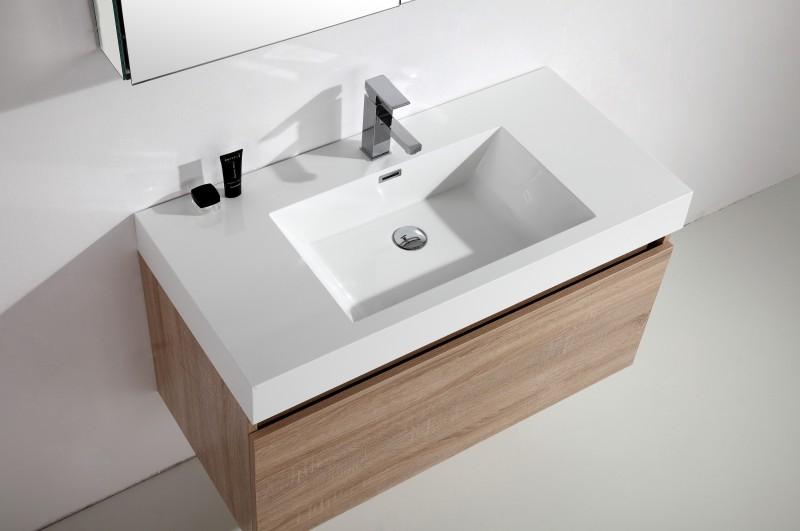 Badmöbel-Set A1000 Basic Eiche geweißt - Spiegel und Seitenschrank wählbar zoom thumbnail 3