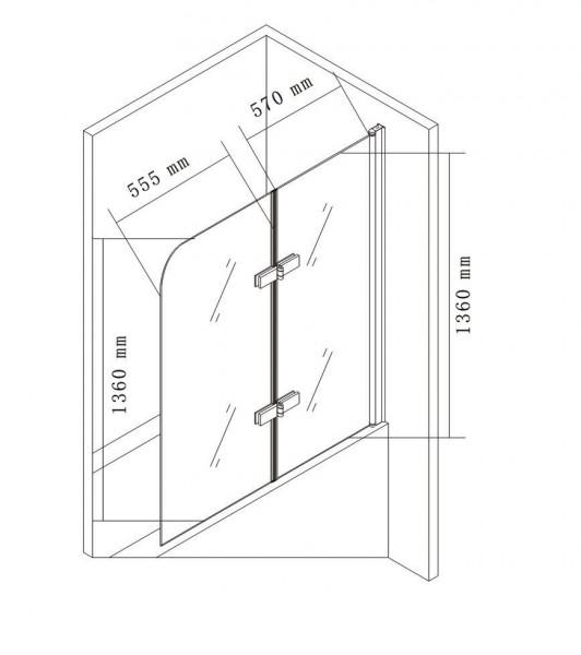 Duschabtrennung Duschwand Badewanne Nano Echtglas EX209 - 1200 x 1400 x 6 mm zoom thumbnail 5