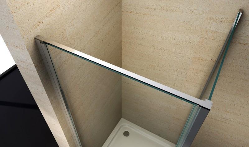 Duschkabine Eckdusche 8 mm Nano Echtglas EX416 - 90 x 90 x 195 cm inkl. Duschtasse