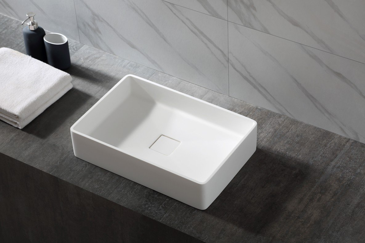 Aufsatzwaschbecken Aqua aus Mineralguss Pure Acrylic - 48x32x10,5cm - in Matt oder Hochglanz