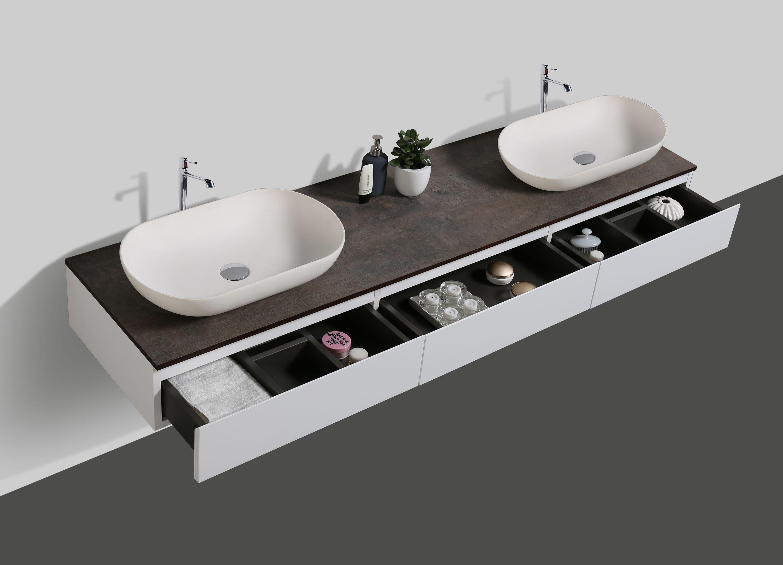 Badmöbel Vision 1800 Weiß matt - Spiegel und Aufsatzwaschbecken optional zoom thumbnail 4