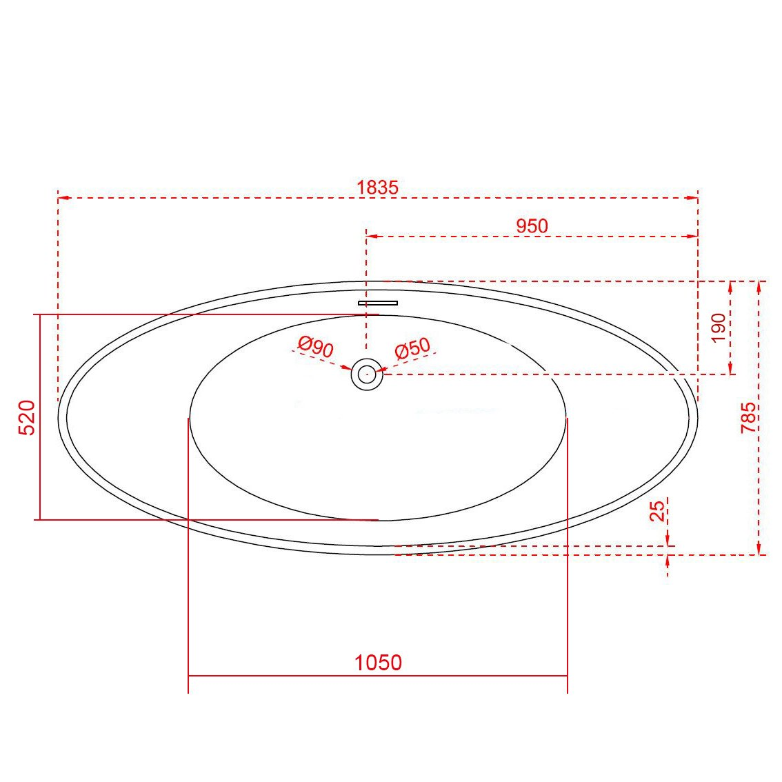 Freistehende Badewanne VICE Acryl Weiß - 183,5 x 78,5 cm - Oberfläche & Standarmatur wählbar zoom thumbnail 3