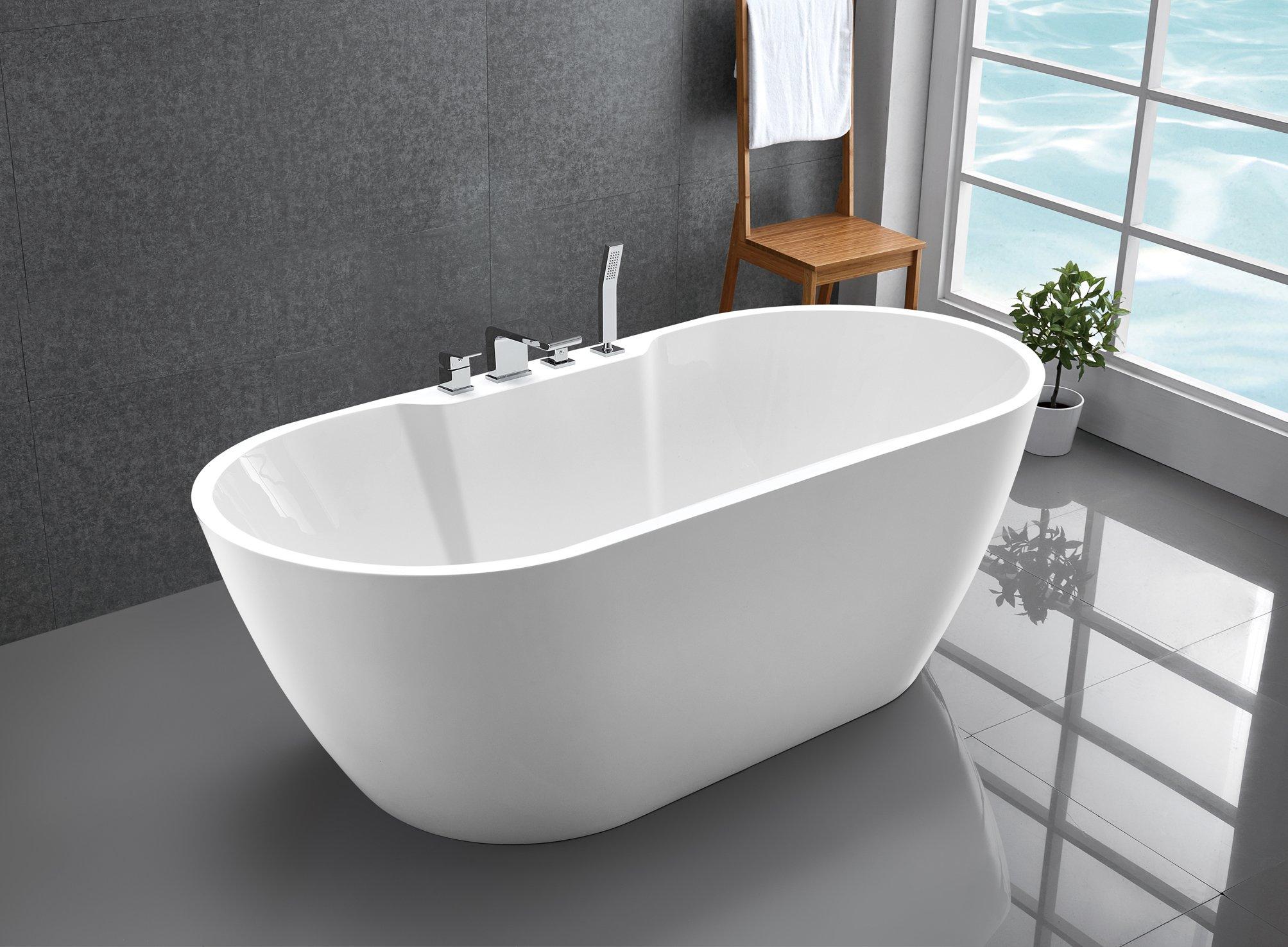 Freistehende Badewanne JAZZ PLUS Acryl weiß glänzend - 170 x 80 cm - Zubehör optional