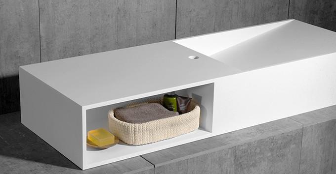 Aufsatzwaschbecken Wandwaschbecken TWG06 aus Mineralguss Solid Stone - 120 x 42 x 20 cm zoom thumbnail 3