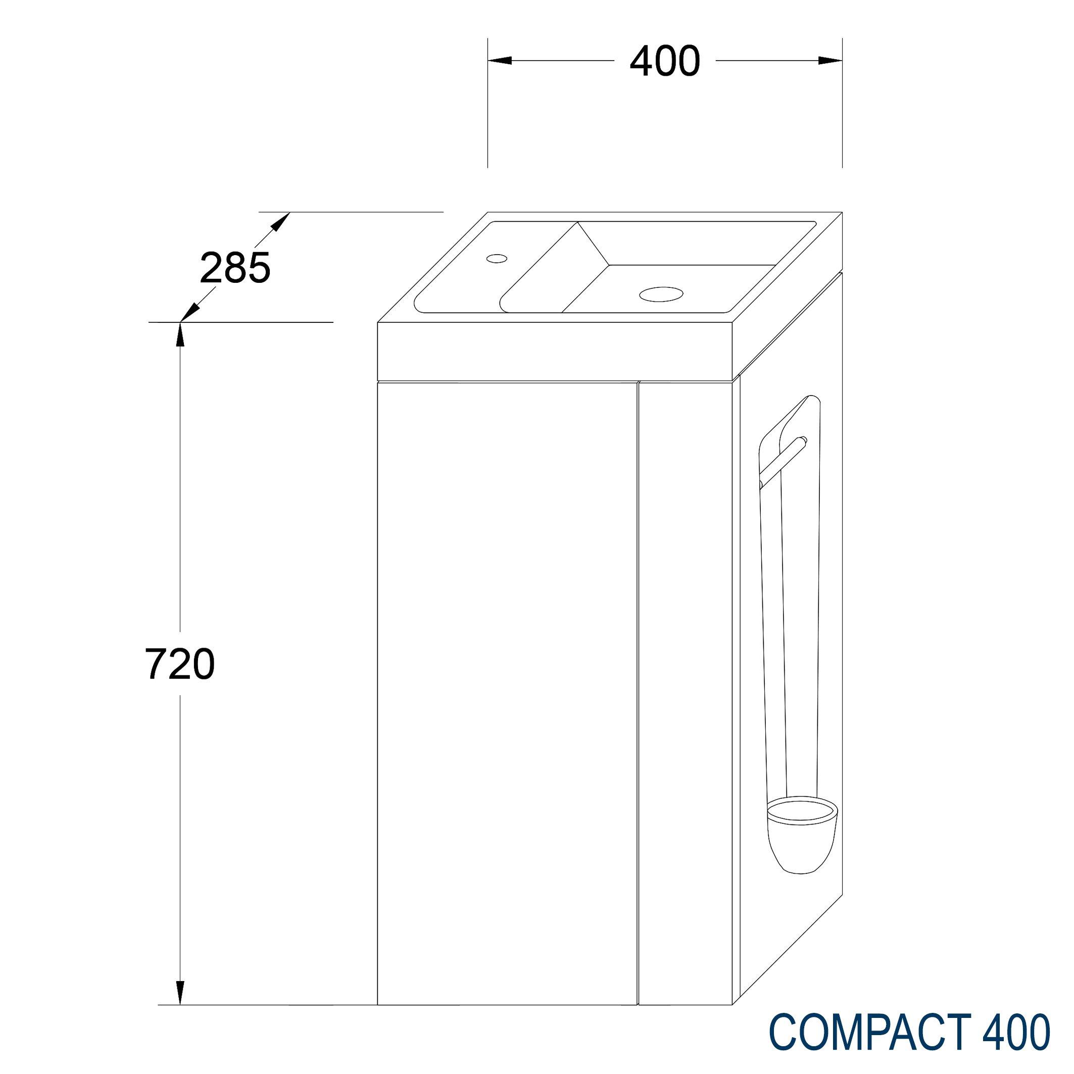 Badmöbel-Set Compact 400 für Gäste-WC - Taupe hell matt zoom thumbnail 5