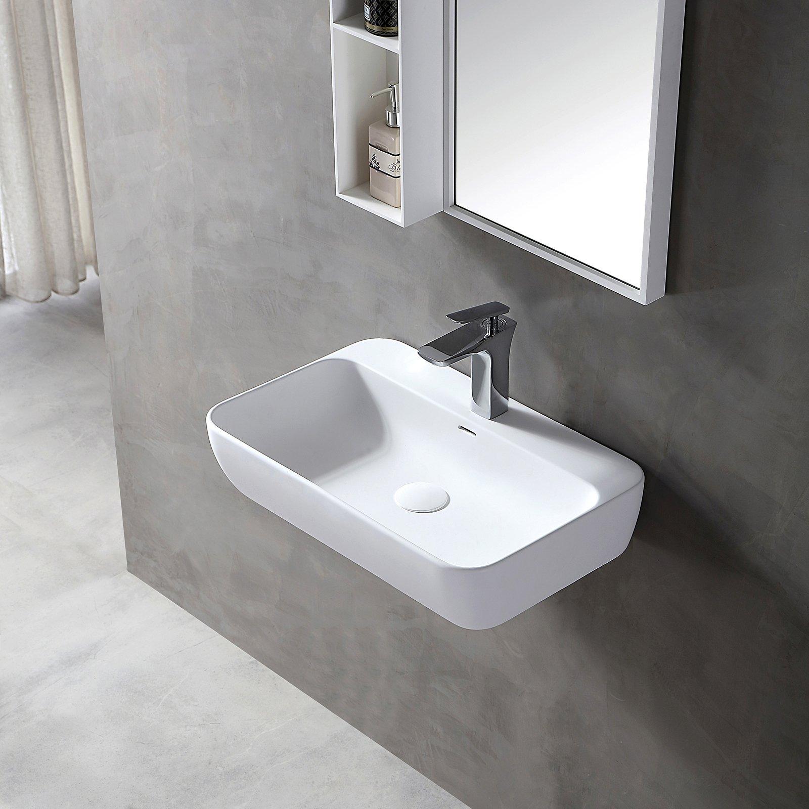 Wandwaschbecken Aufsatzwaschbecken TWG201 aus Mineralguss Solid Stone - Weiß matt - 60x40x14cm