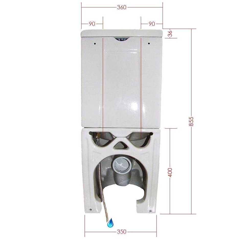 Stand-WC mit Spülkasten CT1088 - Wasseranschluss unten - inkl. Soft-Close-Deckel zoom thumbnail 5