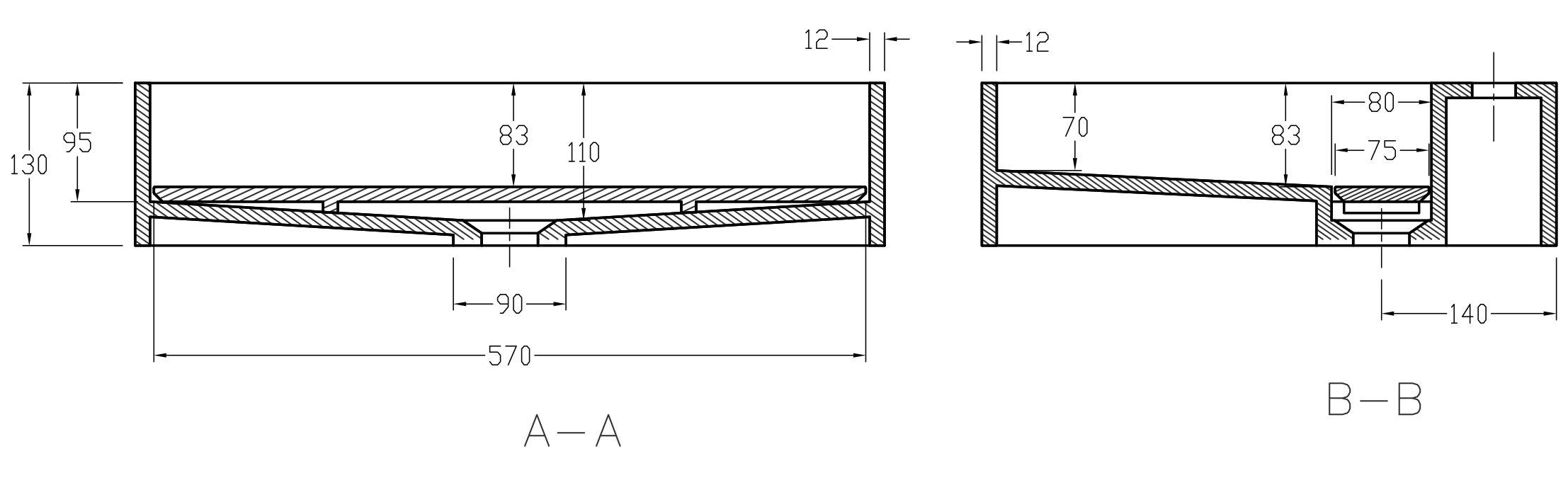 Wandwaschbecken PB2080 aus Mineralguss - 60 x 46 x 13 cm - Weiß matt zoom thumbnail 3