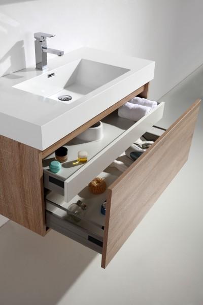 Badmöbel-Set A1000 Basic Eiche geweißt - Spiegel und Seitenschrank wählbar zoom thumbnail 4