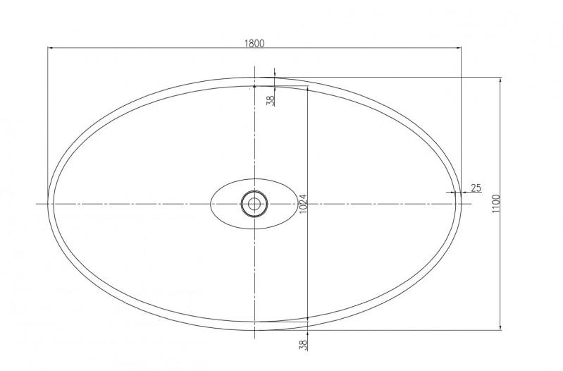 Freistehende Badewanne aus Mineralguss WAVE STONE weiß - 180 x 110 cm - Wählbar in Matt oder Hochglanz zoom thumbnail 3