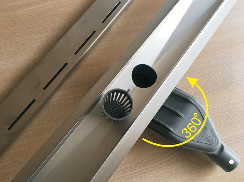 Edelstahl Duschrinne FlexGL01 für Duschkabine inkl. Ablaufblende Glas schwarz - Länge wählbar zoom thumbnail 3