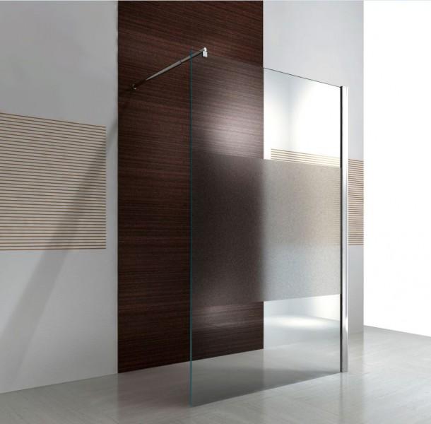 Duschabtrennung Walk-In Nano Echtglas EX101 - Milchglas-Streifen - Breite wählbar
