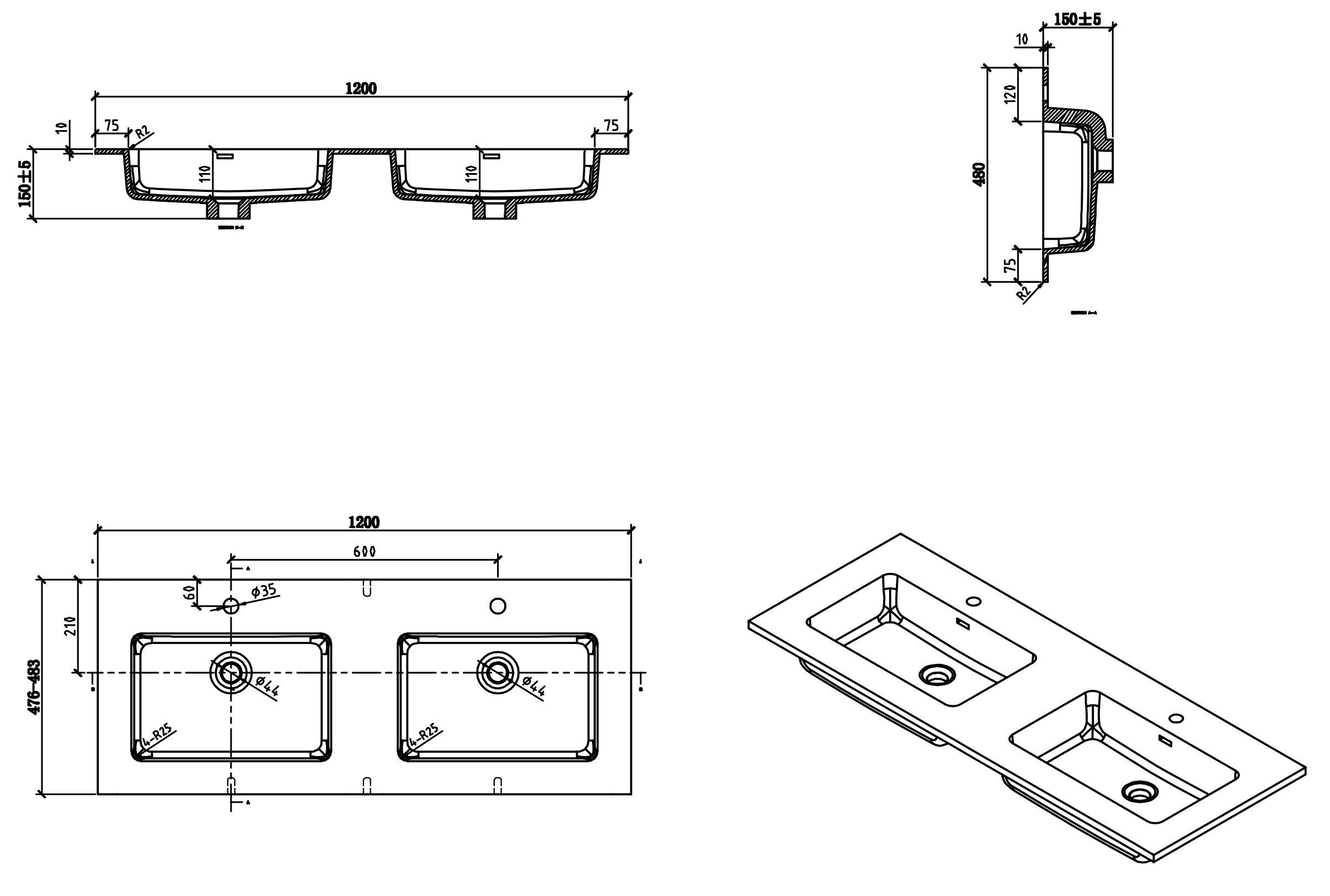 Badmöbel-Set Alice 1200 Eiche - Spiegel und Seitenschränke optional