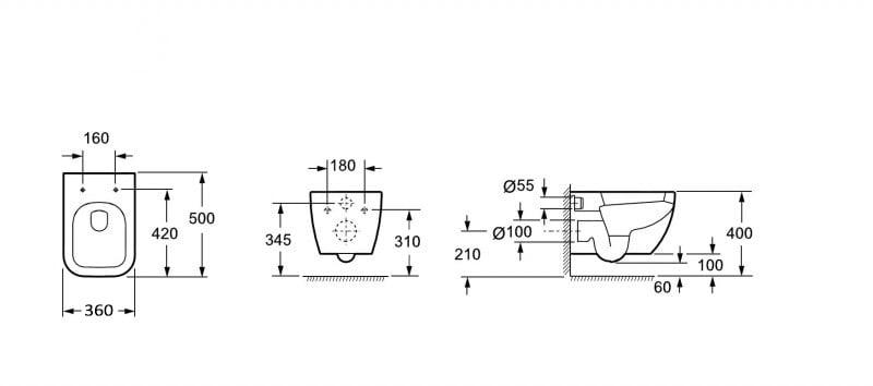 Spülrandloses Wand-Hänge-WC 101R - Inkl. Soft-Close-Deckel zoom thumbnail 5