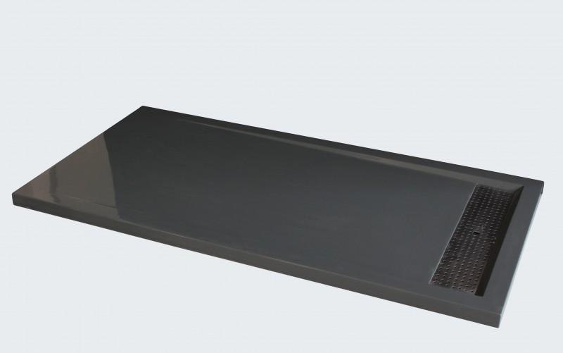 Mineralguss Duschtasse rechteckig 1480BG Edelstahl - Grau glänzend - 140x80x4,5cm