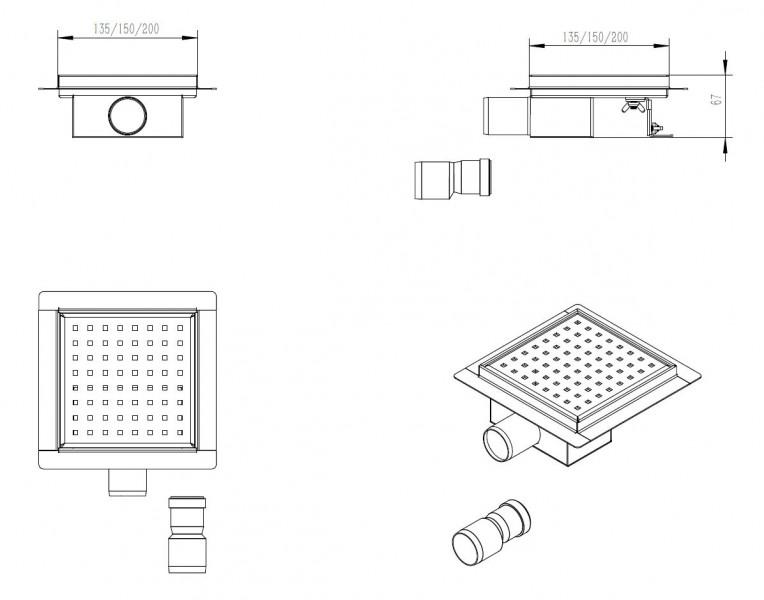 Edelstahl-Duschrinne S01 Bodenablauf für Duschkabine - inkl. Ablaufblende - Größe wählbar zoom thumbnail 4