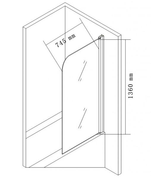 Duschabtrennung Duschwand Badewanne Nano Echtglas EX201 - 800 x 1400 x 6 mm zoom thumbnail 3
