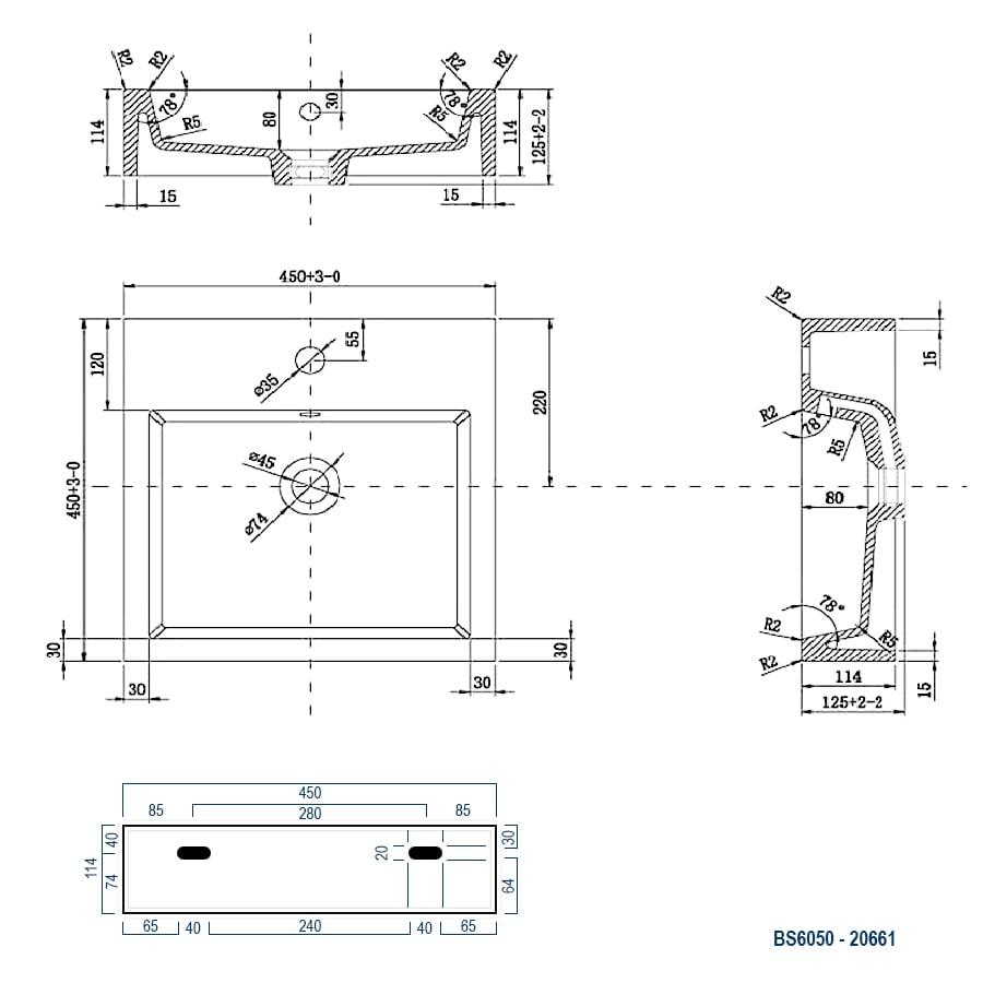 Wandwaschbecken Aufsatzwaschbecken BS6050 45 x 45 x 12,5cm zoom thumbnail 5