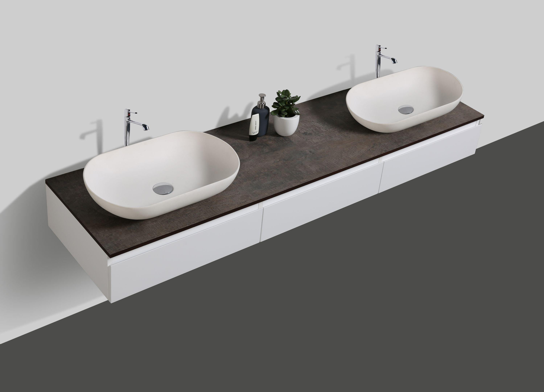 Badmöbel Vision 1800 Weiß matt - Spiegel und Aufsatzwaschbecken optional zoom thumbnail 3