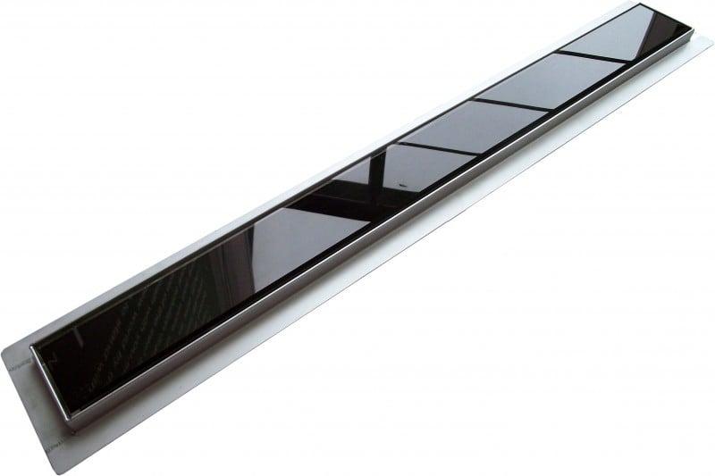 Edelstahl Duschrinne FlexGL01 für Duschkabine inkl. Ablaufblende Glas schwarz - Länge wählbar