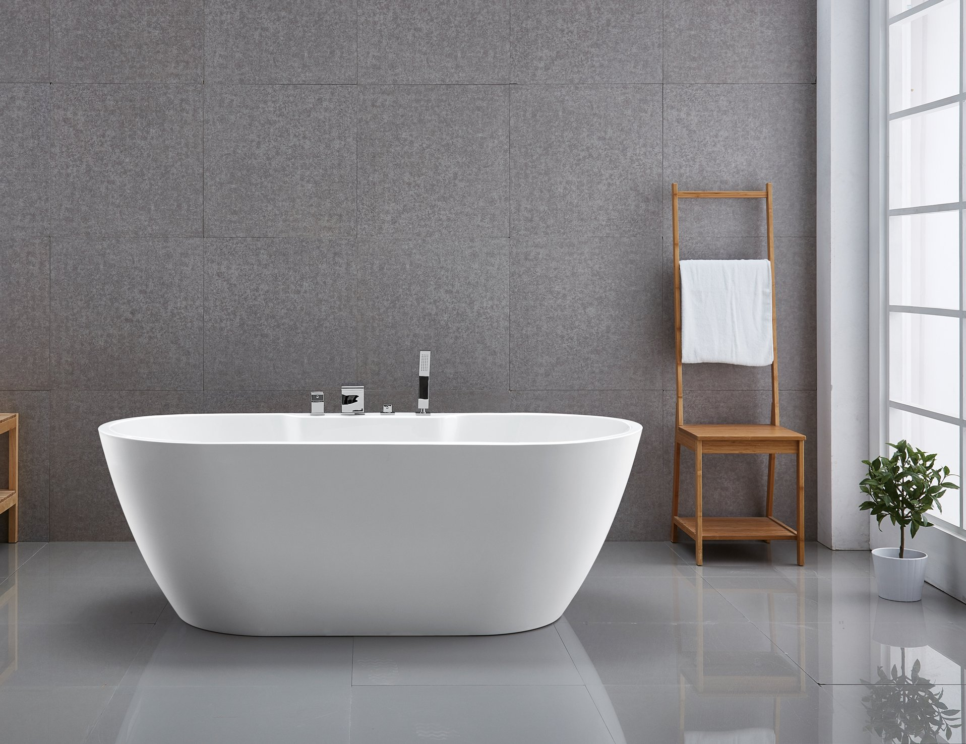 Freistehende Badewanne JAZZ PLUS Acryl weiß glänzend - 170 x 80 cm - Zubehör optional zoom thumbnail 3