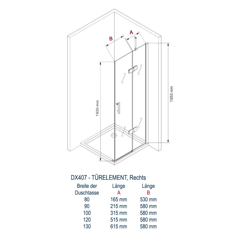 Duschkabine Eckdusche 8 mm Nano Echtglas DX407 - Breite wählbar zoom thumbnail 4