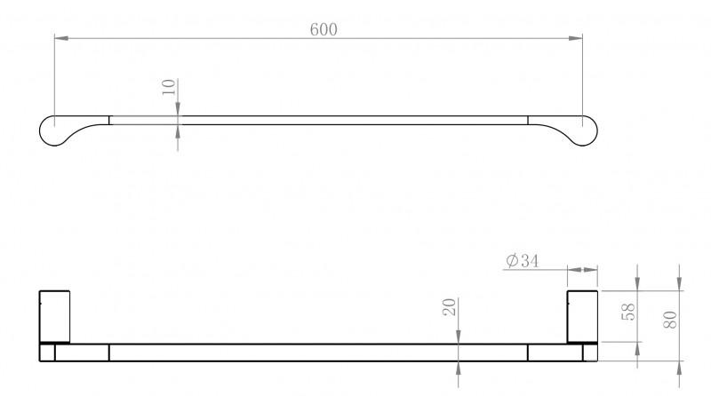 Moderner Handtuchhalter SDVHH60 Design rund - Serie VERSA - chrom zoom thumbnail 3