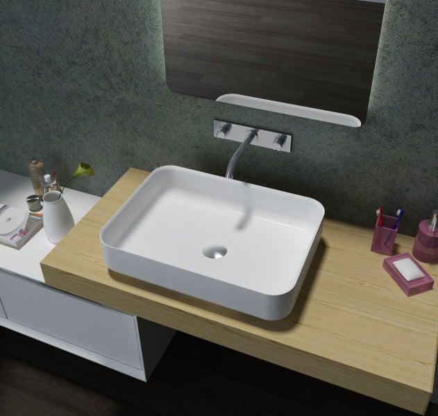 Mineralguss Aufsatzbecken Waschbecken Rechteck PB2121 - 55x40x13cm - Pure Acrylic