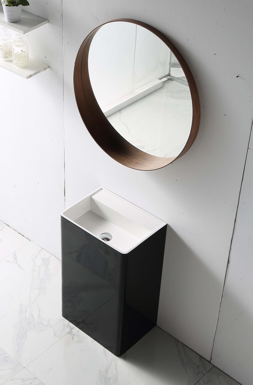 Standwaschbecken TWZ26 aus Mineralguss Solid Stone - in Weiß oder Schwarz - 50x36x85cm zoom thumbnail 3