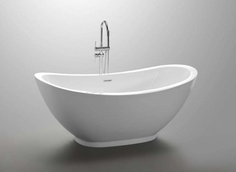 Freistehende Badewanne VALENZIA Acryl Weiß - 175x85cm - Standarmatur optional wählbar zoom thumbnail 3