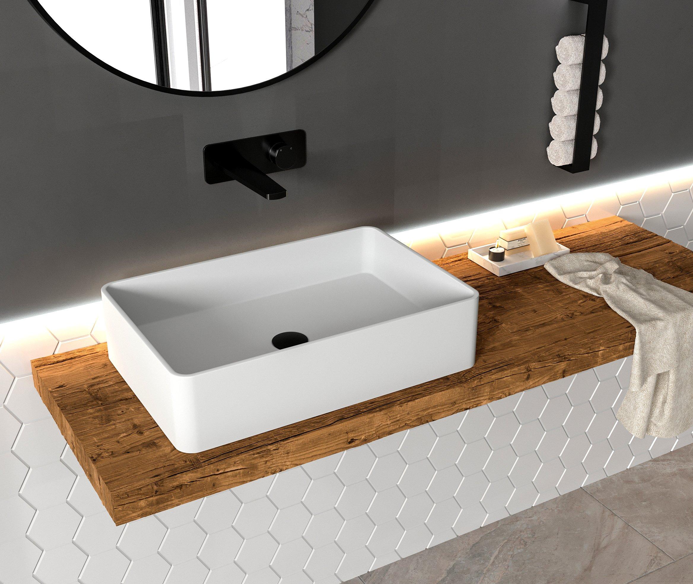 Aufsatzbecken Aufsatz-Waschbecken Rechteck PB2012 - Design geradlinig - 60 x 40 x 15 cm zoom thumbnail 5