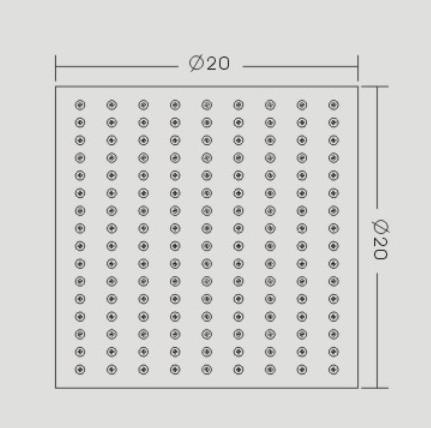 Regendusche Edelstahl-Duschkopf DPG2023 superflach - 20 x 20 cm zoom thumbnail 3