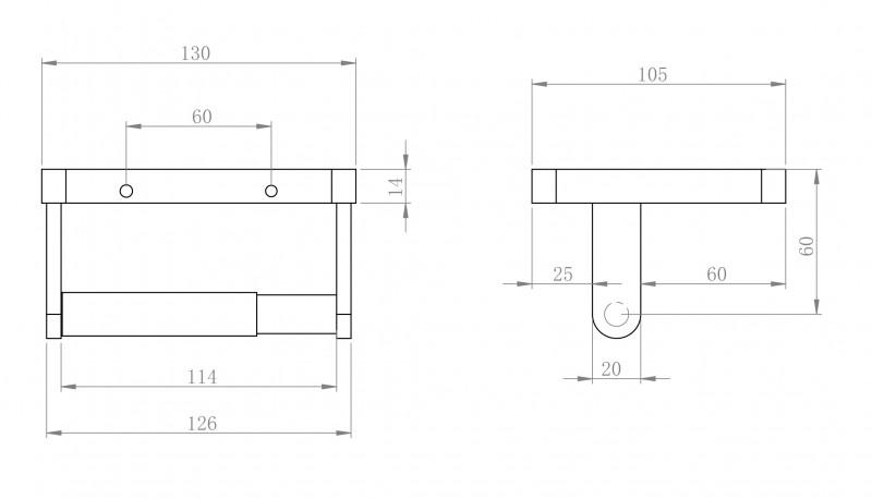 Edler Toilettenpapierhalter SDLTPH aus Messing - Serie LINEAR - chrom zoom thumbnail 3